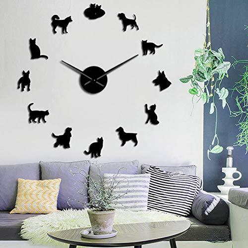 EXQART Varios Gatos y Perros Acrílico Simple DIY Relojes de Pared ...