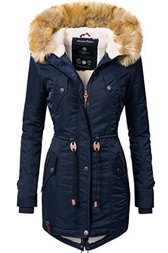 Navahoo Damen Winter Mantel Winterparka La Viva (vegan hergestellt) Blau Gr. L