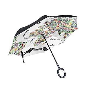 jstel doble capa diseño mapa del mundo de viaje Póster Las Ciudades Y Turismo ATT paraguas coches Reverse resistente al viento lluvia paraguas para coche al aire libre con asa en forma de C