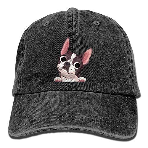 EJjheadband Cartoon Boston Terriers Bulldog Denim Hat Adjustable Womens Surf Baseball Hats