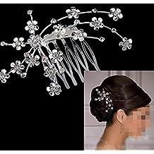 Musuntas joyería nupcial joyería del pelo del peine del pelo perlas de cristal blanco cálido claros diamantes de imitación peine flor tiara
