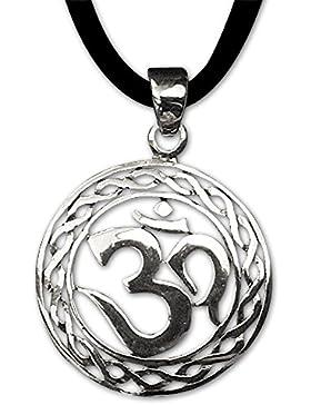 Om Anhänger Amulett Magischer 925er Silber Schmuck mit Lederband Schmucksäckchen und Karte 843