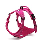 Navinio Dauerhaft Einstellbarer 3M Streifen Reflektierendes Hundegeschirr Draussen Haustier Hundeweste Harness mit Griff Brustgurt für große/Mittlere / Kleine Hunde (M, Pink)