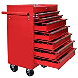 Popamazing Metal Tool Chest Cabinet with Lockable Drawers and Handle on Castors Wheels