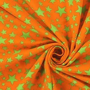Tissu jersey imprimé au mètre - coton oeko tex - motifs Etoiles/ Vert fond Orange - Avenue des Tissus