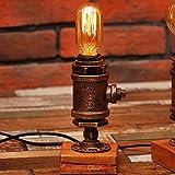 Crayom Vintage Industrial Tischlampe Steampunk Tischleuchte Rustikale Wasser Rohr Stil Nachttisch Schreibtisch Lampe Für Home Study Zimmer Schlafzimmer Bibliothek Hotel Desktop Lights Höhe 29cm