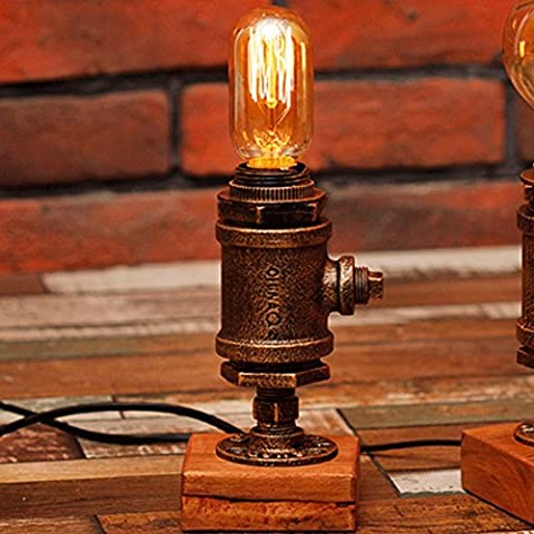 Vintage Industrial Table Lamp Steampunk Table Light Rustic Water Pipe