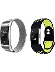 2Pack para Fitbit carga 2 correa bandas de reemplazo, banda ajustable de la correa del deporte para los hombres y las mujeres (1 paquete de banda de malla metálica magnética + 1 paquete de correa de silicona súper suave de silicona)