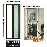 GrecoShop Zanzariera a Rullo in Alluminio per Porte/balconi con Profilo riducibile/Regolabile avvolgimento Orizzontale 160x250cm Marrone