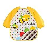 #6: Chinatera Baby Boy's Drool Bibs Waterproof with Long Sleeves Cartoon Animal Print Feeding Cloth Bib One Size Bee