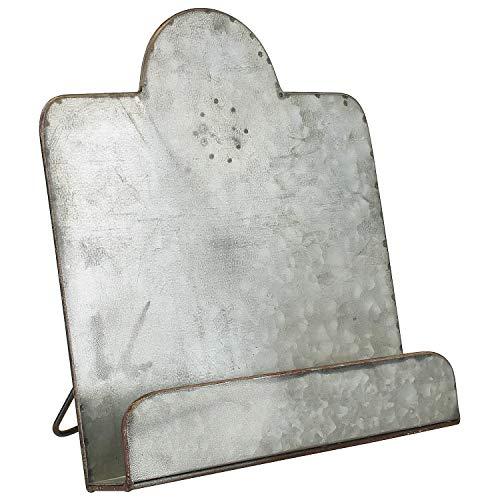 MACOSA SA81874 Kochbuch-Halter Zink Silber Vintage Landhausstil 30,7 x 27,5 cm Küchen-Utensilien Dekorativer Buchhalter Kochbuchständer Buchstütze -
