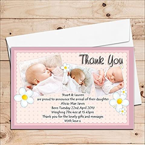10 Personalised Baby Girl Birth Announcement Thank You PHOTO Cards N70