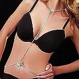 P Prettyia Impresionante Cristal Diamante Corazón Cuerpo Cadena Gargantilla Collar Cintura Belly