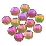 15 Glas Cabochons 8mm facettiert Kristall AB Glasschliff Strass-Steine R203