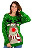 FK Styles, maglione natalizio da donna, con motivo fiocchi di neve e renna Rudolph 3D Pom Pom Green XXL = 52-54