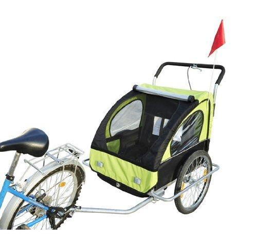 Homcom 5664-1099 2 in 1 Jogger Kinder Fahrradanhänger 5 Farben zur Auswahl Neu, grün / schwarz - 2