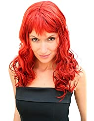 Party/Fancy Dress/Halloween Lady WIG long fire RED fringe slightly curly FRINGE Hollywood Diva Femme Fatale LM-142-KII135