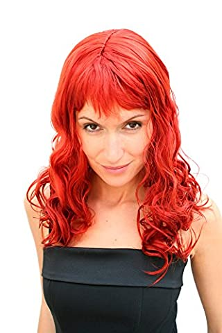 Hollywood Perruque - Party/Fancy Dress/Halloween Lady WIG long fire RED
