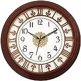 eCraftIndia Round Wooden Analog Wall Clock (33 cm x 33 cm, Brown, WWCCWK1167_COLA)