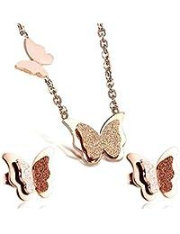 Findout Parure tendance avec collier à pendentif papillon et boucles d'oreilles, en titane plaqué or rose (f949)