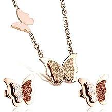 Findout Parure tendance avec collier à pendentif papillon et boucles  d oreilles, en titane f264ba8a5bac