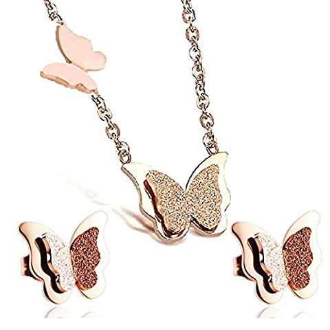 findout Rose or plaqué en titane acier en forme de papillon collier pendentif + boucle d'oreille (f949)