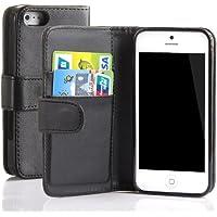 tinxi® Leder Tasche für Apple iPhone 5 5S Tasche Hülle Ledertasche Schutzhülle Flipcase Case Cover Schutzhülle Schwarz