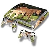 Braun Pferd, Designfolie Sticker Skin Aufkleber Schutzfolie mit Farbenfrohem Design für PlayStation 3 Slim