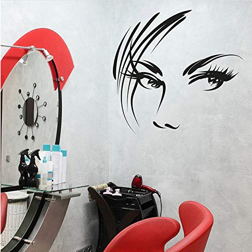 Vinyl Wandtattoo Frau Gesicht Kunst Studio Schönheitssalon Innendekoration Fensterglas Aufkleber Mädchen Schlafzimmer Kunstwand 60X57 cm -