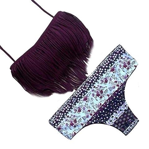 WOCACHI Damen Bikinis Reizvolle Frauen Bademode Bikini Set Vintage Tassel Bandage Push-Up gepolsterte Badeanzug Beachwear Violett (S, (Langarm Schwangerschafts-tunika)