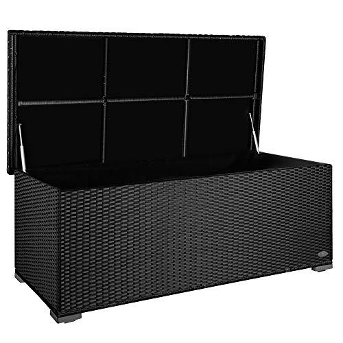 PREMIUM 'Sienna' 650l Polyrattan Garten Kissenbox wetterfest (regnet nicht rein) 155 x 73 x 60 cm, Auflagenbox mit verstärktem Deckel und Gasdruckfedern, als Sitztruhe oder Tischplatte, Schwarz
