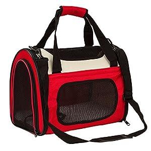 Maxmer Hund Tragetasche Katze Transporttasche aus Oxford Tuch + Atmungsaktiv Netzfenster Single-Schulter geeignet für klein Tiere wie Nager Hunde Häschen und Katzen (Rot/ Blau/ Braun, S/L)