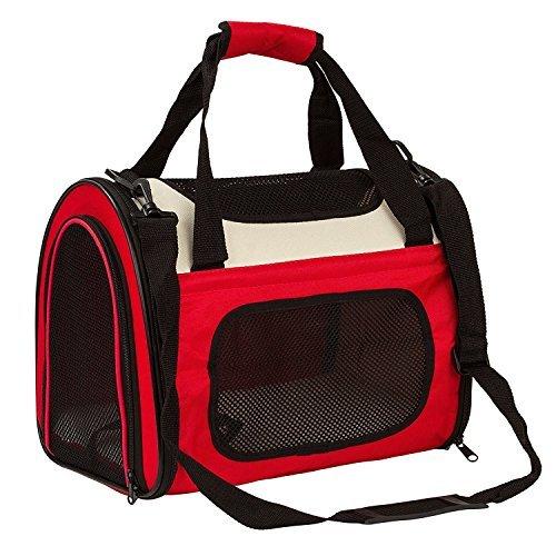Maxmer Hund Transporttasche Katze Tragetasche Oxford Tuch + Atmungsaktiv Netzfenster Single-Schulter geeignet für klein Tiere wie Nager Hunde Häschen und Katzen (Rot/ Blau/ Braun, S/L) (Rot Handtasche Lammfell)