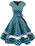 Gardenwed Damen Vintage 50er Cap Sleeves Retro Cocktailkleid Rockabilly Petticoat Faltenrock Hepburn Stil Abendkleid Blue Black Dot M