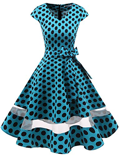 Für Damen Kostüm 1950er Jahre - Gardenwed 1950er Vintage Retro Rockabilly Kleider Petticoat Faltenrock Cocktail Festliche Kleider Cap Sleeves Abendkleid Hochzeitkleid Blue Black Dot L