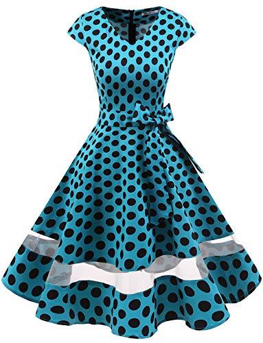 Gardenwed 1950er Vintage Retro Cocktailkleid Cap Sleeves Rockabilly Kleider Damen Schwingen Petticoat Faltenrock Blue Black Dot ()