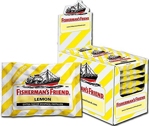 Fisherman's Friend Lemon | Karton mit 24 Beuteln | Zitrone und Menthol Geschmack | Zuckerfrei für frischen Atem