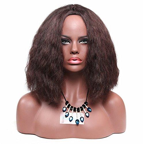 Synthetischen lockiges Afro-Perücken Schulter Länge Jet Schwarz Full Perücken für schwarz Frauen Hitzebeständige Kunstfaser + eine kostenlose Perücke (Curly Flapper Perücke Schwarz)