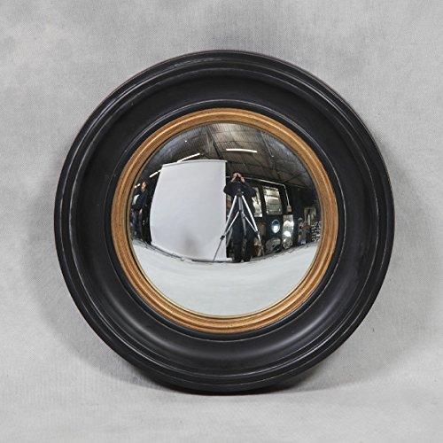 MGR Holz schwarz & Gold geformte Rahmen konvex Fisheye Bullauge Spiegel 40cm Retro Fisheye-port