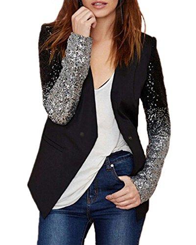 Auxo Damen Langarm Herbst Paillette Business Slim Outwear Blazer Cardigan Oberteil Tops Schwarz EU 44/Etikettgröße 2XL