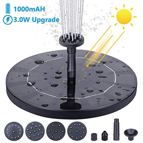 Especificación de la fuente solar: * Energía del panel solar: 9 V / 3.0W * Potencia de la bomba: 9 V / 1.0W * Tamaño del panel solar: 11.02 in × 11.02in * Cabeza máxima: 39.37 in * Cantidad máxima de flujo: 190L / H * Altura máxima del agua: 23.62 in...