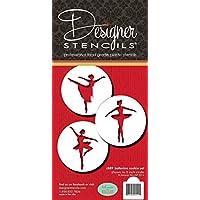 Designer Stencils C889 Ballerina Cookie Stencil Set, Beige/Semi-Transparent