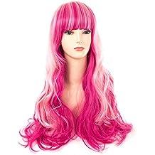 Spretty Harajuku estilo largo rojo rosa Ombre Big Curly pelucas con Full Bangs para Anime Cosplay Party