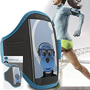 Samsung I929 Galaxy S II Duos Sky Blue Black Running Adjustable ArmBand Case Cover with Key / Money Pocket