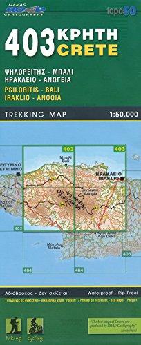 Psiloritis, Bali, Iraklio, Anogia (Crète), 1:50 K, Carte de randonnée, GPS compatible 2014 édition, ORAMA, # 403