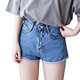 Mujeres Vintage Jeans Cintura Alta Corto Pantalones Vaqueros Denim Shorts Azul L