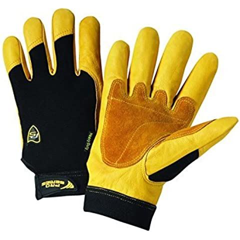 West Chester Pro Black/Yellow XL Split Cowhide Leather/Spandex Full Fingered Work & General Purpose Gloves - Uncoated - 9.75 in Length - 662909-008633 [PRICE is per PAIR] by West
