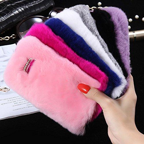 FLOVEME Custodia per iphone se/5s in Pelo Artificiale Pelosa Morbida Protettiva Donna Ragazze Case Cover per iphone se/5s Nero Rose Pink