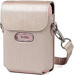 ❤ Tasche Schutzhülle für Fujifilm Instax mini Link smartphone-drucker, aus Leder, Umhängetasche weiß (Roségold)