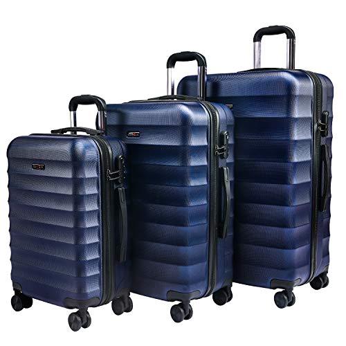 CarryOne Valigie Set Trolley Bagaglio a Mano con 4 Rotelle Girevole, Valigia Rigida e Leggera da Viaggio Set da 3 Pezzi 55cm, 64cm, 74cm(Blu)